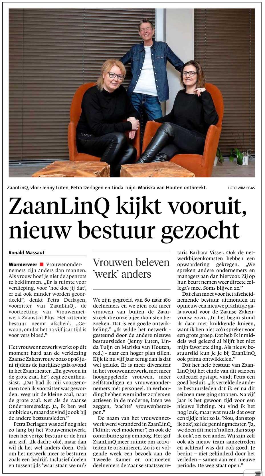 Nieuw bestuur gezocht ZaanLinQ