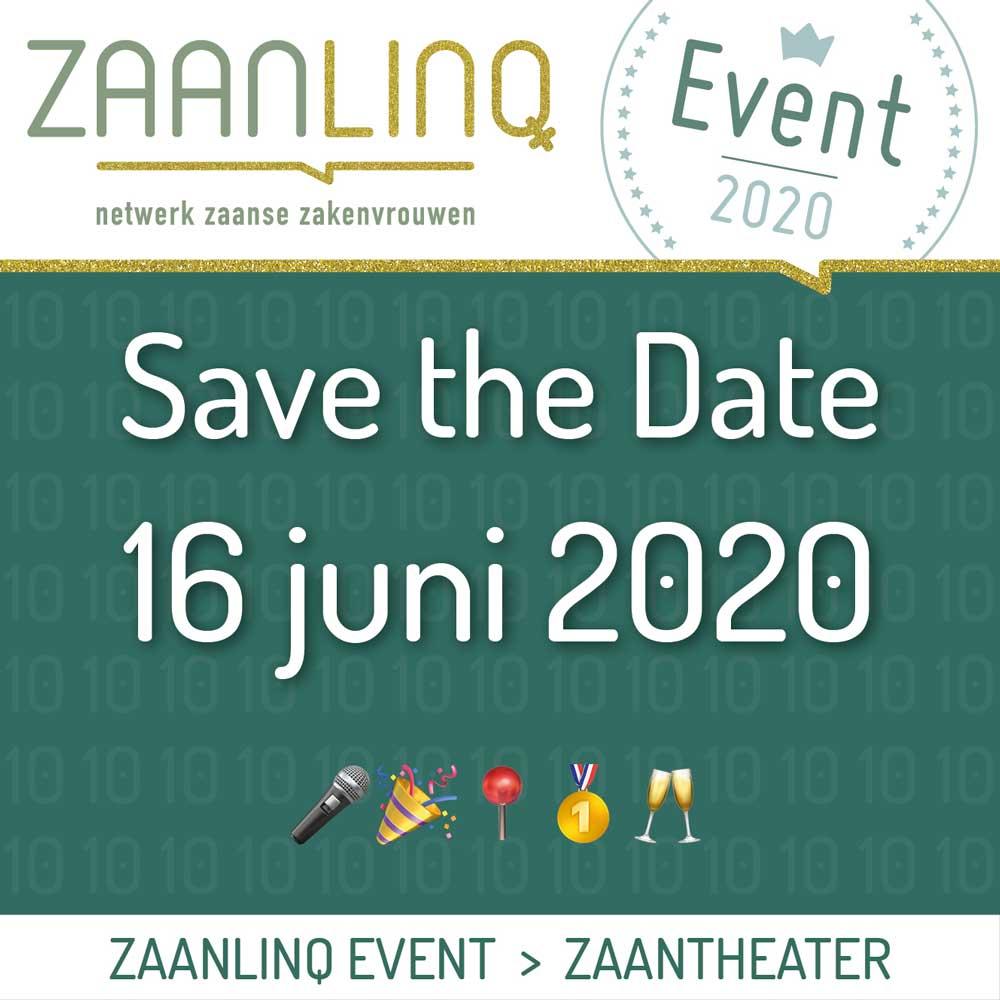 Save the Date, 16 juni 2020 ZaanLinQ Event